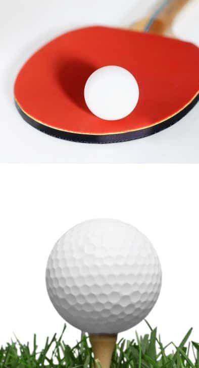 ping pong ball vs golf ball