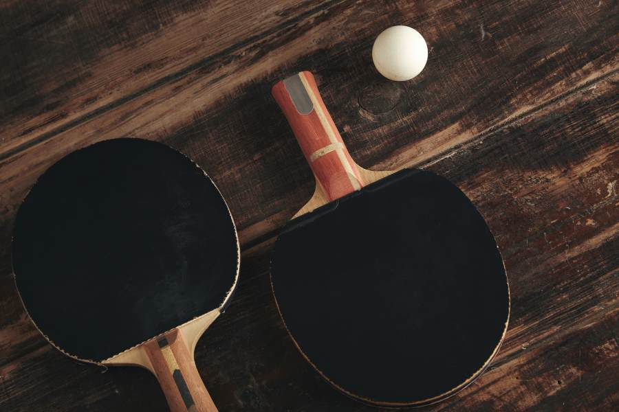 ping pong paddle on a table