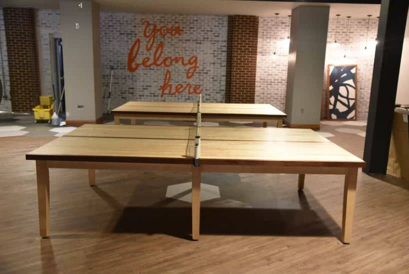 wood finish ping pong table